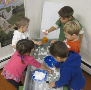 slime in the sensory table