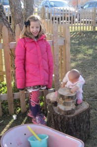 Playing with the new wood stumps
