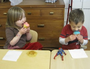 Birthday kids enjoying their cupcakes!
