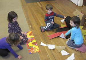 constructing the big Dragon puppet
