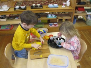 play dough and color sorting