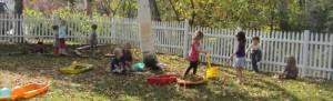 raking fallen leaves