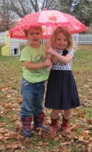 sharing her umbrella