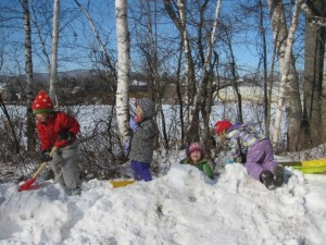 digging out the snowbank