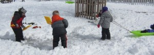 shoveling off the ice