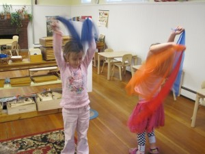 scarf dancing to harp music