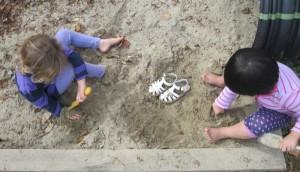 sand on bare feet
