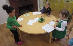painting shamrocks with green paint